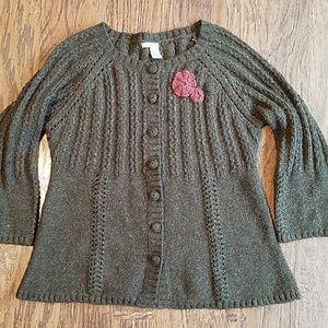 DKNY jeans cardigan sweater crocheted flower XL